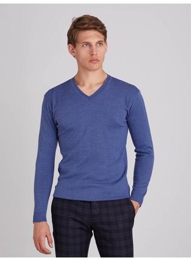 Dufy Grı Melanj V Yaka Erkek Trıko - Slım Fıt Mavi